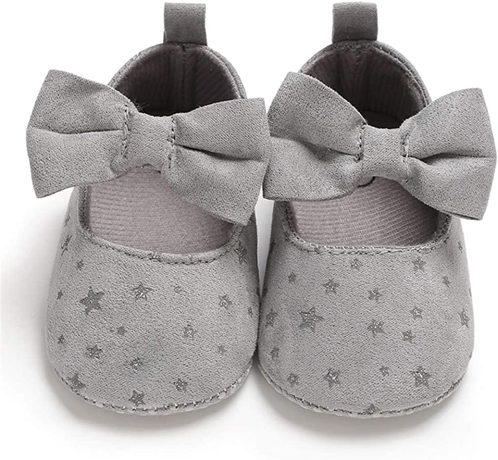 lakiolins Baby Girls Shiny Stars Suede Bowknot Mary Jane Flats Princess Dress Crib Shoes