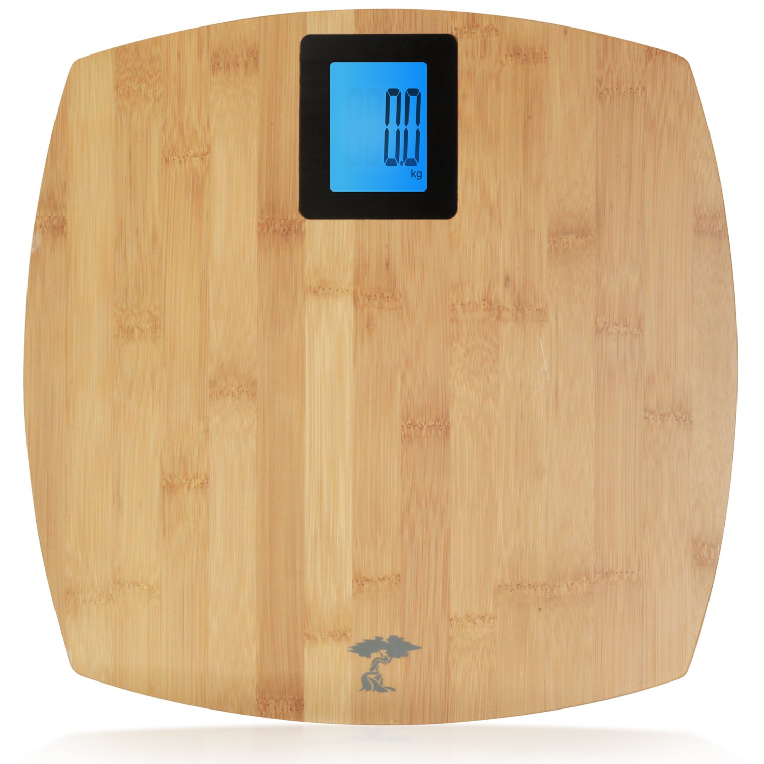 Deluxe Bamboo Bathroom Scale. Backlit Large Display. 400lb Capacity. by ToiletTree Products