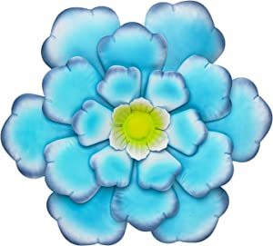 SONGXIN Blue Indoor Outdoor Wall Art Metal Flower Wall Decor Colorful Wall Sculptures Hanging for Bathroom Living Room Bedroom Office 13 Inch