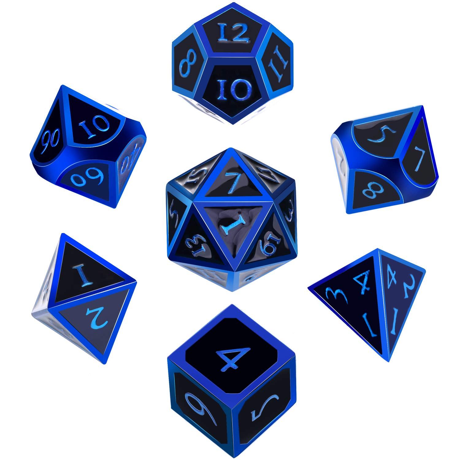 Hestya 7 Pieces Metal Dices Set DND Game Polyhedral Solid Metal D&D Dice Set with Storage Bag and Zinc Alloy with Enamel for Role Playing Game Dungeons and Dragons (Blue Edge Black)