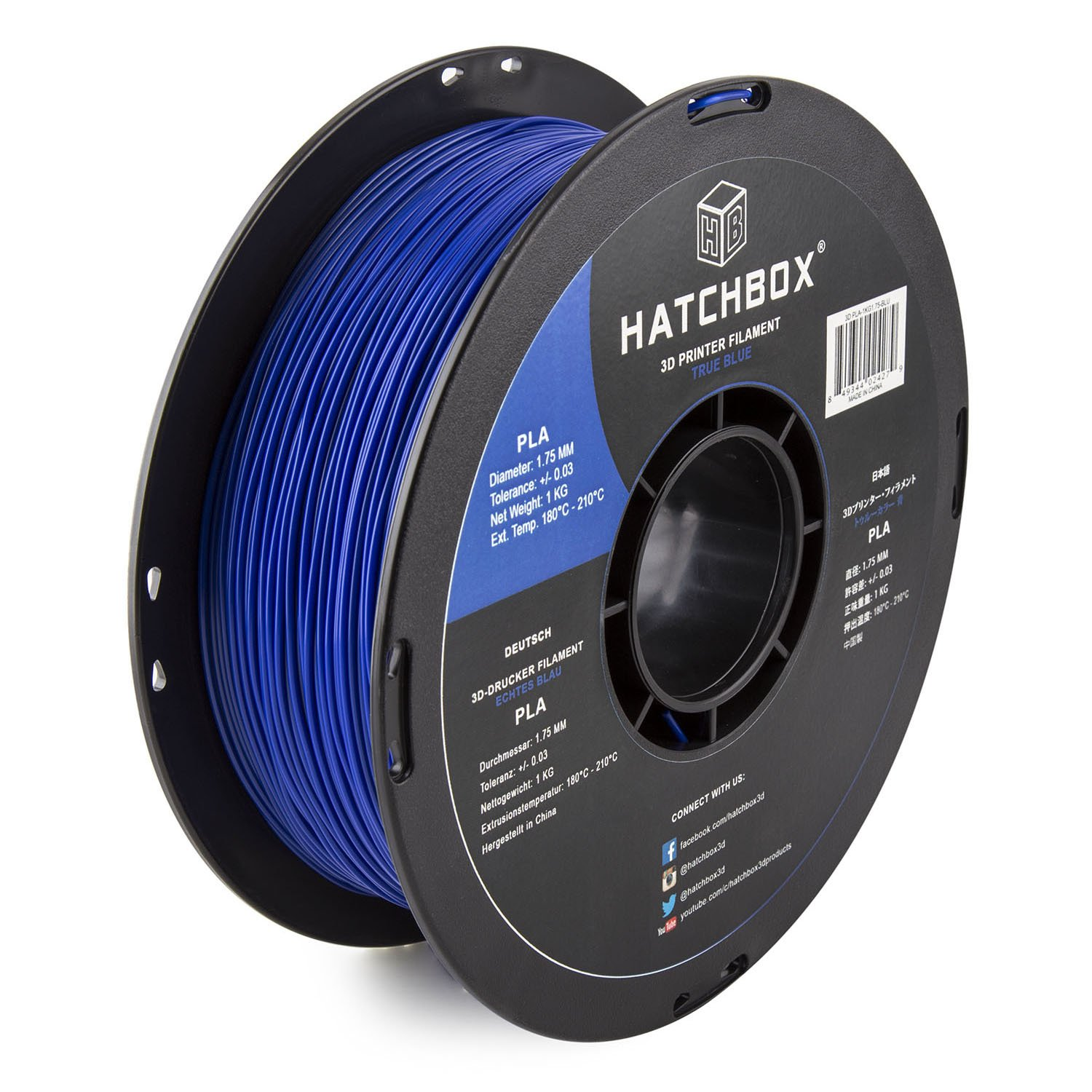 HATCHBOX PLA 3D Printer Filament, Dimensional Accuracy +/- 0.03 mm, 1 kg Spool, 1.75 mm, Blue, Model Number: 3D PLA-1KG1.75-BLU