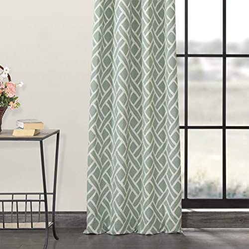 HPD Half Price Drapes PRCT-D07B-120-GR Grommet Printed Cotton Curtain 1 Panel - a good cheap window curtain panel