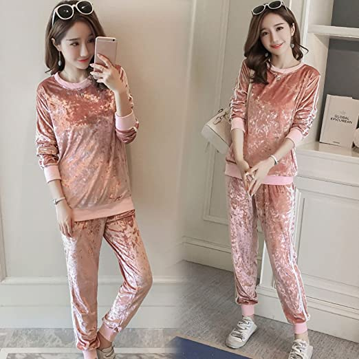 HZFF Traje de terciopelo ropa de maternidad coreana camisa de manga larga y pantalones abdominal quedan embarazadas de dos piezas sueltas: Amazon.es: Ropa y ...