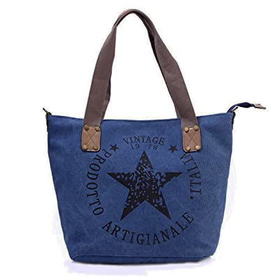 141561abee027 Star Shopper Bag Vintage Stern Damen Stamp Tasche Fashion Henkeltasche Canvas  Stoff (Blau)  Amazon.de  Schuhe   Handtaschen