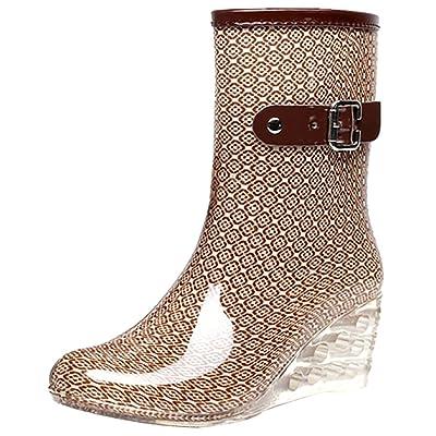 Odema Women's Mid Calf Rain Boots Buckle Side Zipper Wedge High Heel Waterproof Shoes Snow Wellies Bootie | Mid-Calf