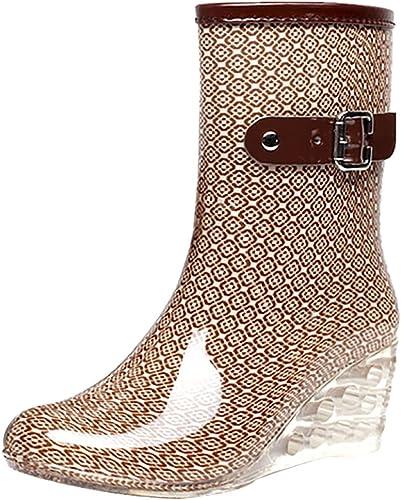 Odema Womens Mid Calf Rain Boots Buckle Side Zipper Wedge High Heel Waterproof Shoes Snow Wellies Bootie