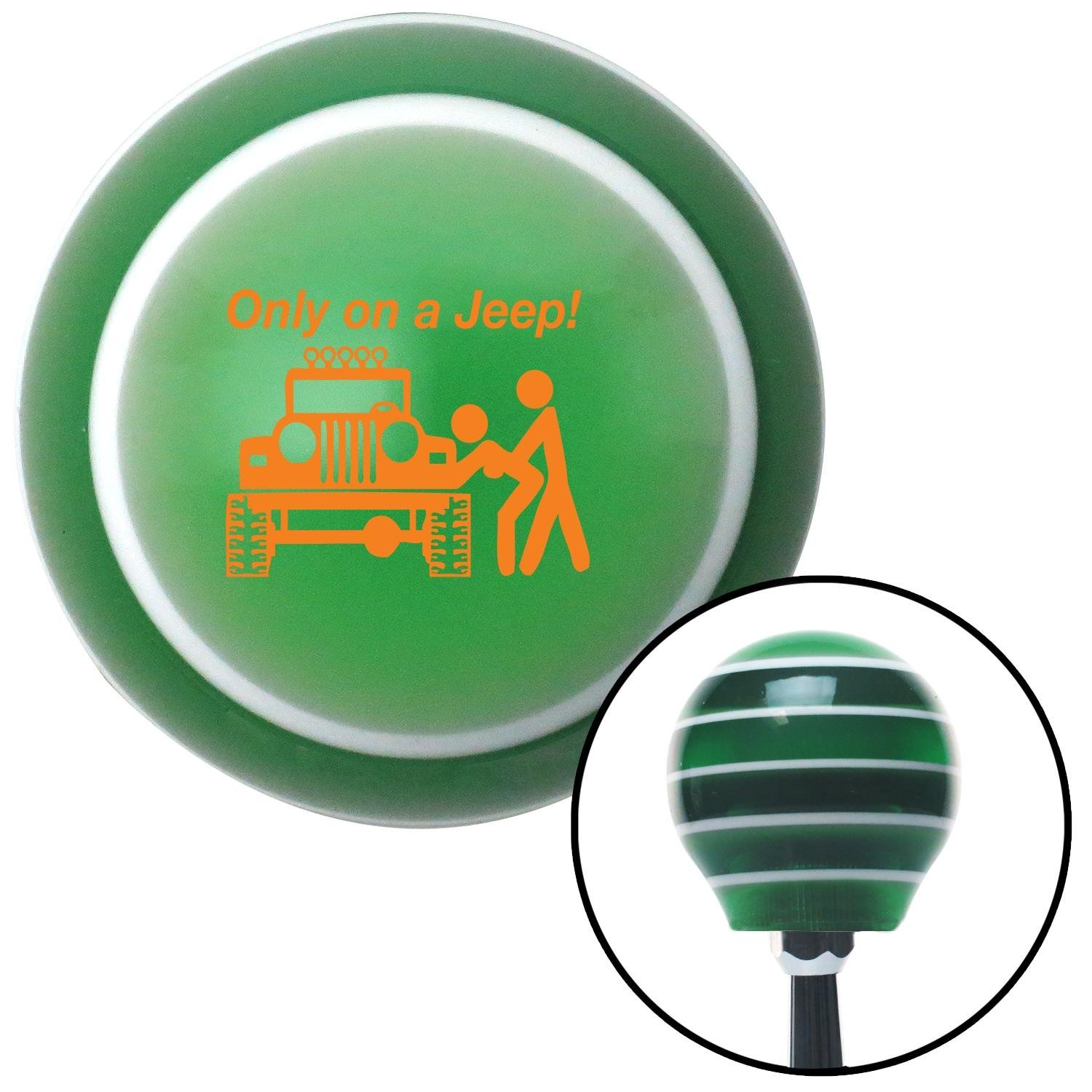 American Shifter 121547 Green Stripe Shift Knob with M16 x 1.5 Insert Orange Only On A Jeep