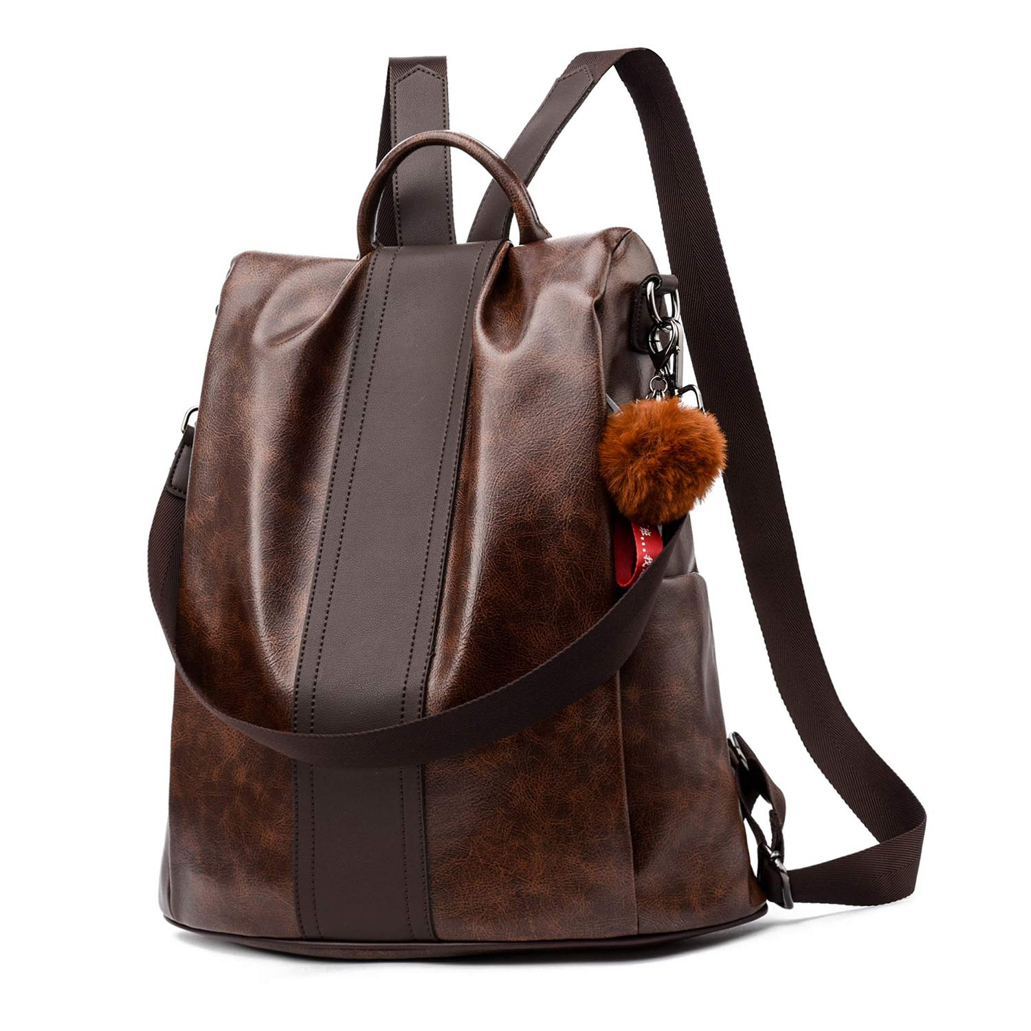 Women Backpack Purse PU Leather Anti-theft Backpack Casual Satchel School Shoulder Bag for Girls (Brown Large)