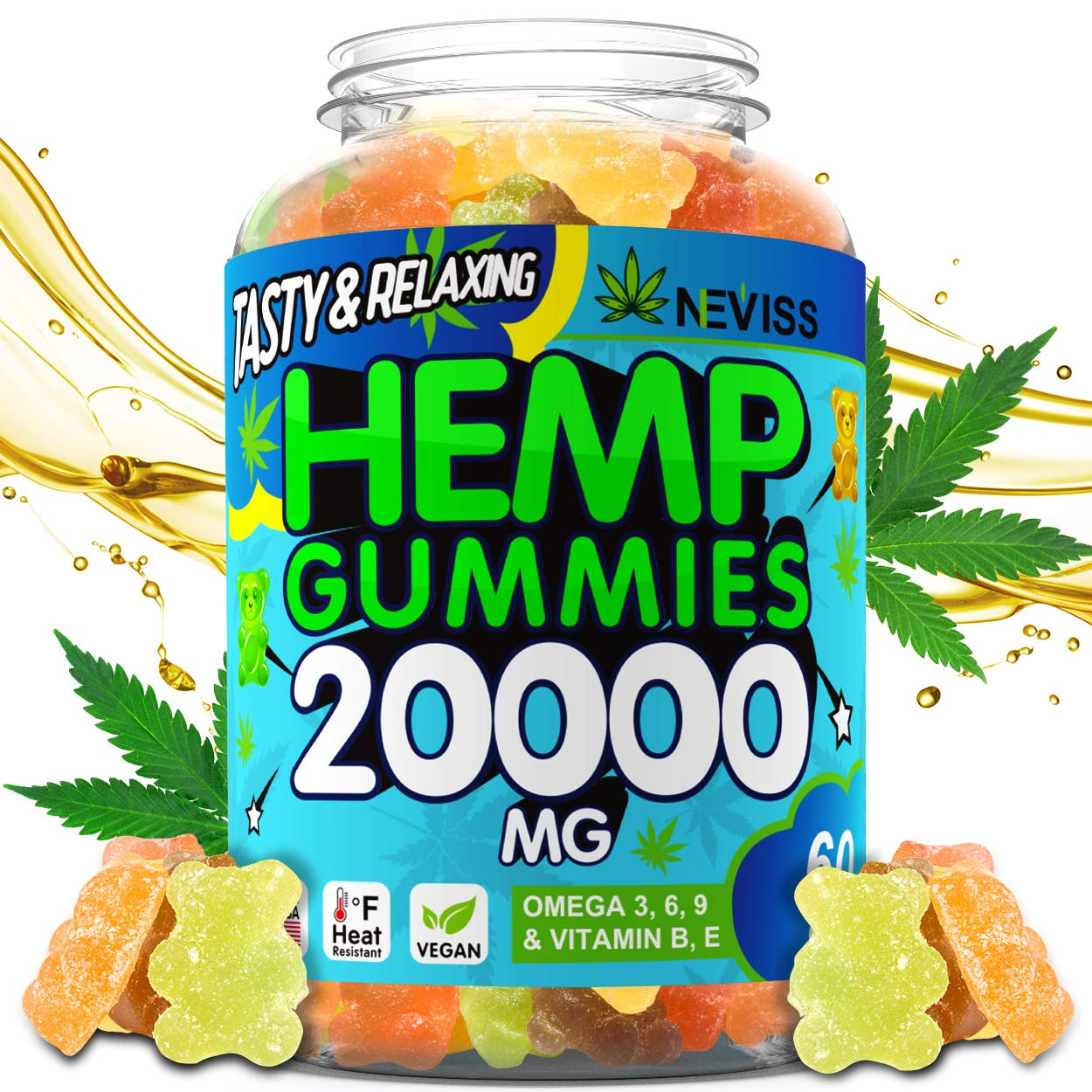 Vegan Hémp Oil Gummies for Pain, Anxiety, Stress & Inflammation Relief, Sleep, Calm, Mood & Immunity Support, Hémp Extract Gummies 20000 MG - Natural Organic Pure Hémp Gummies Bears Made in USA by Nevissbags