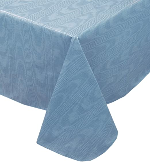 Amazon Com Newbridge Blue Moire Wavy Solid Color Print Heavy Gauge Vinyl Flannel Backed Tablecloth Indoor Outdoor Tablecloth 60 Inch X 120 Inch Oblong Rectangle Home Kitchen