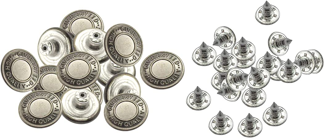 UK Seller 9 different colours 8 x 17mm Jean Stud Buttons with Pins Hammer on