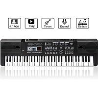 JINRUCHE Numérique Piano Clavier 61 Clé Multi-fonction Clavier Électronique Portable Jouets pour Enseignement Musical Instrument avec Microphone Pour Enfants Enfants Anniversaire (Noir)