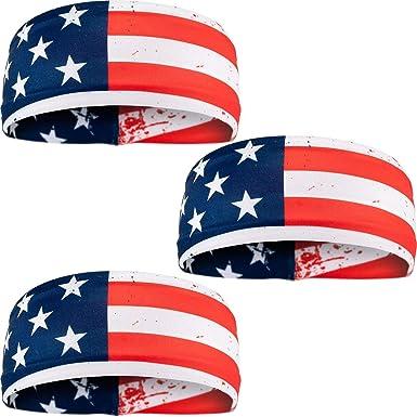 """Sweat Headbands /& Wristbands Workout UNISEX Fitness USA Flag For Women /"""" Men Of"""