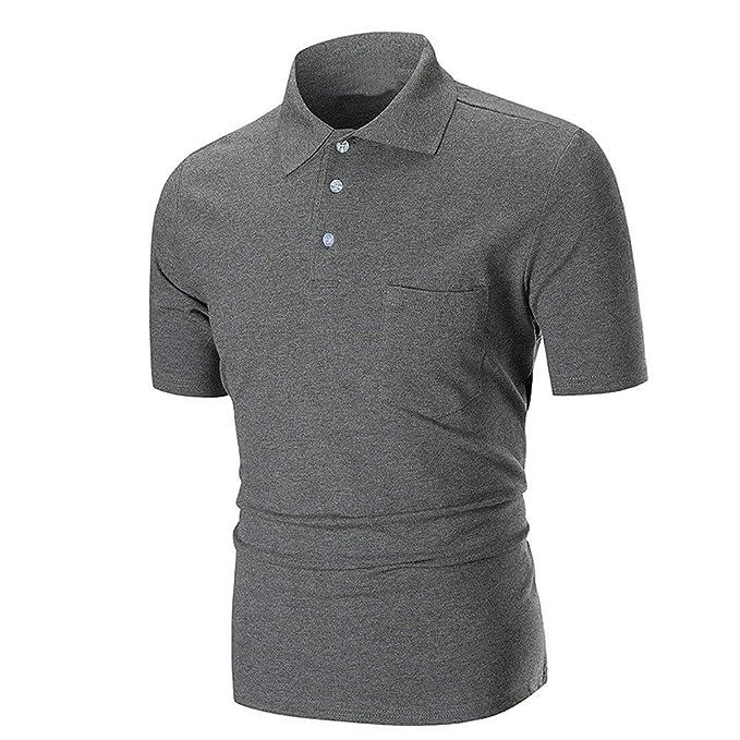 Delgada Blusa Polp Corta Para Hombre De Polos Con Camiseta Manga HW9DE2IY