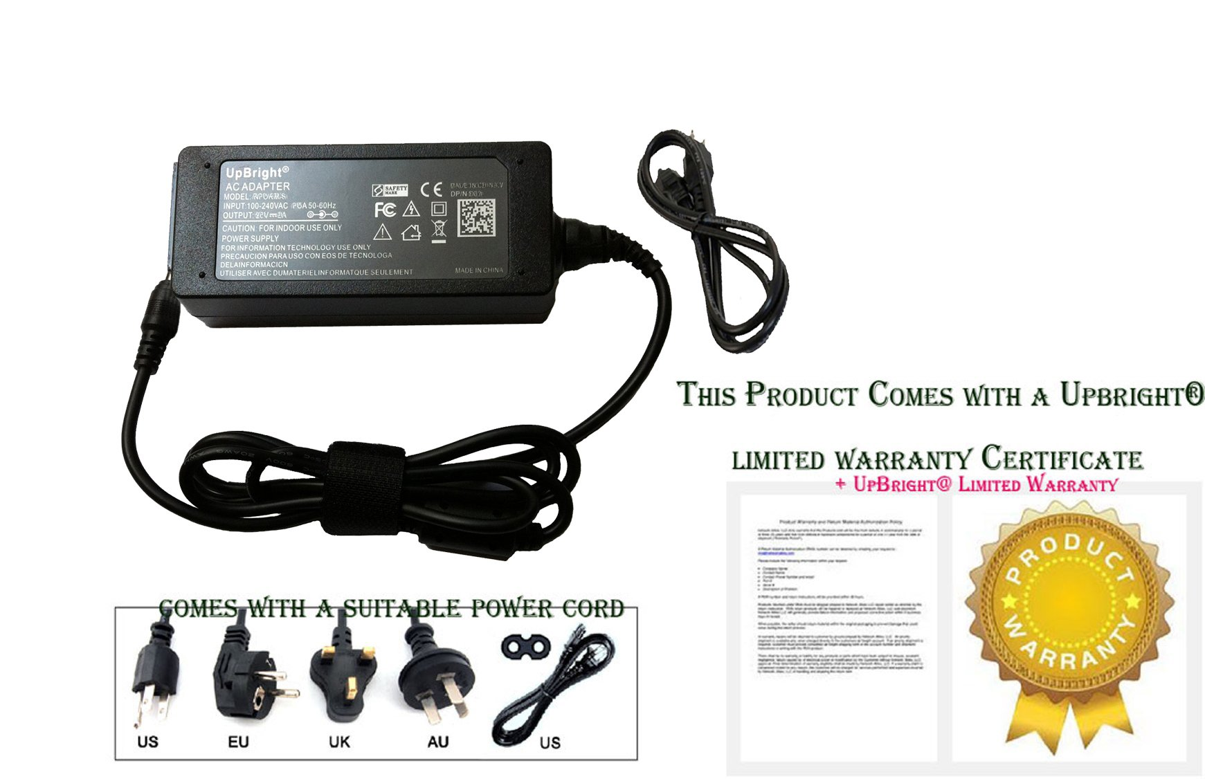 UpBright NEW 19V AC/DC Adapter For Asus AD883320 AD883520 AD883P20 AD883J20 010HLF BAH 010KLF BAH 010HLFBAH 010KLFBAH Netbook Laptop Notebook PC 19V 1.75A 2.37A 33W 45W Power Supply Cord Charger PSU