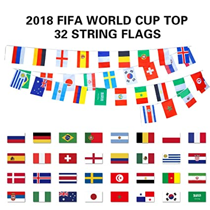 amazon com fishmm 2018 fifa world cup top 32 string flag banners