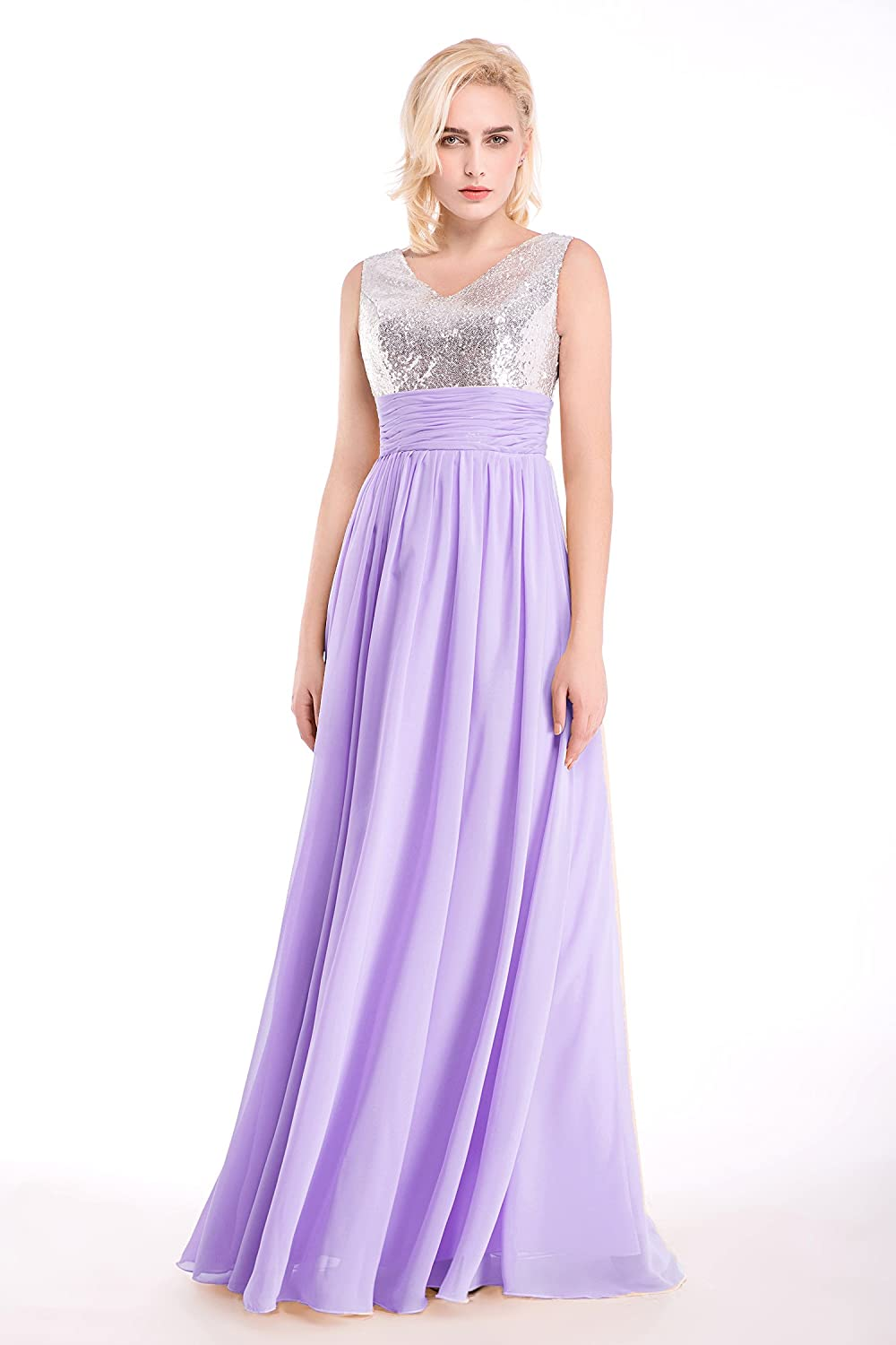 b9a53f24f2b3f Amazon.com: Jienixiya Women's V Neck A-line Chiffon Long Evening Dress (20  Plus, Lilac): Clothing