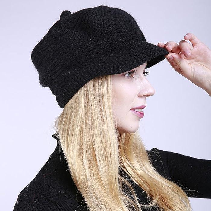 223812eca36ee TWGONE Womens Knit Cap Solid Warm Crochet Winter Wool Knit Manual ...