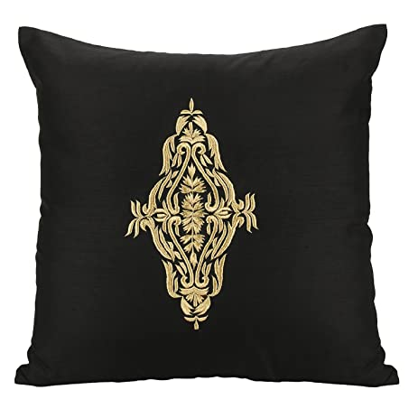 room living embroidered and black cushions pillow geometric gold for pillows throw