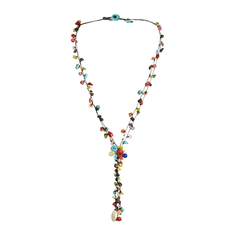 AeraVida Pretty Long Multi Stone Cluster Drop Cotton Wax Rope Multi Strand Necklace NS-0207-Mix