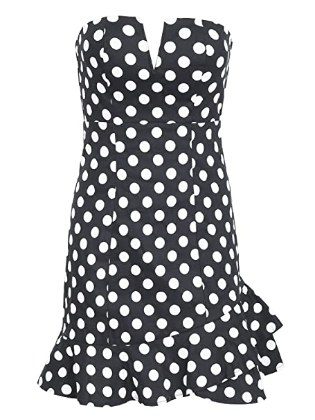 Simplee Women Sexy Polka Dot Strapless Stretchy Mini Tube Dress
