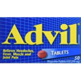 Advil Tablets (50 Count), 200 mg ibuprofen, Temporary Pain Reliever/Fever Reducer