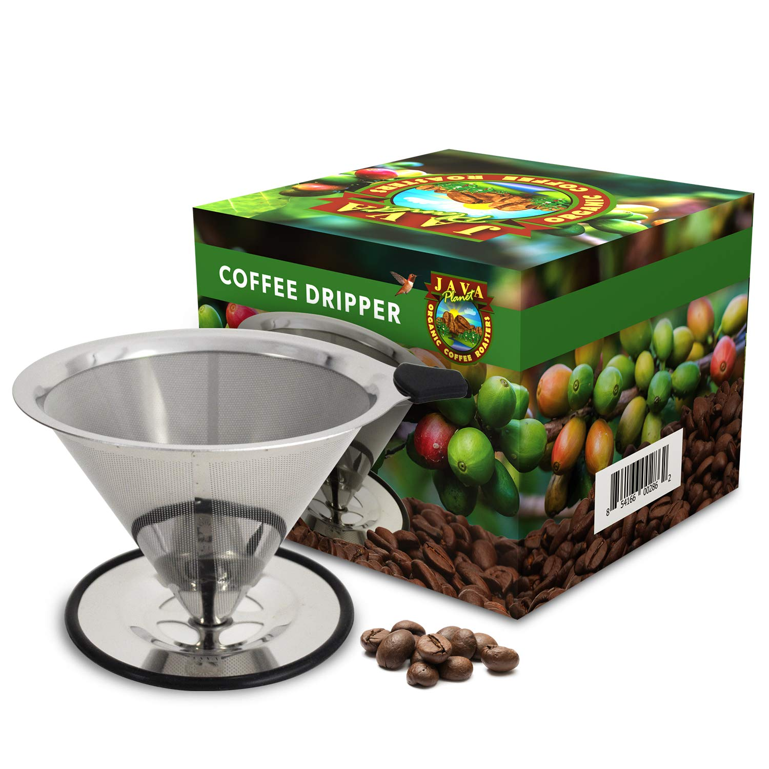Java Planet - Pour Over Coffee Cone Dripper -Reusable Stainless Steel Filter Coffee Maker by Java Planet Organic Coffee Roasters