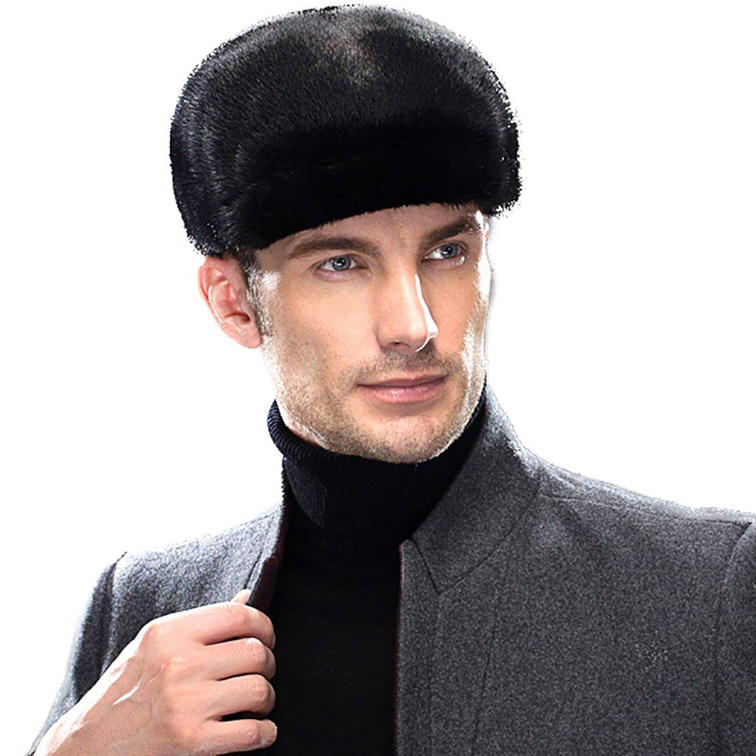 URSFUR Men's Mink Fur Peaked Cap Winter Visor Hat