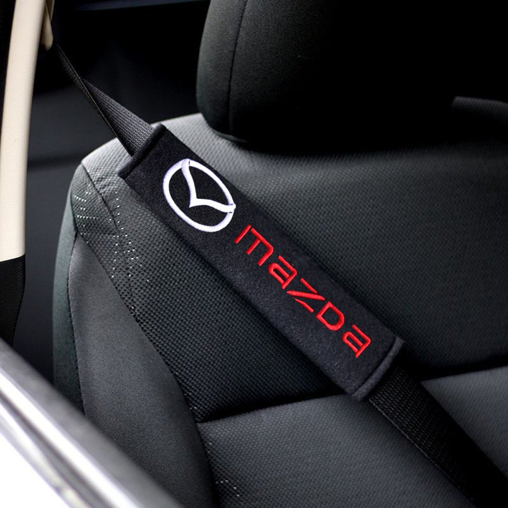 2x Protezioni Comfort per Cintura di Sicurezza Auto, Viaggio Ammortizzatori Mazda logo OPAYIXUNGS