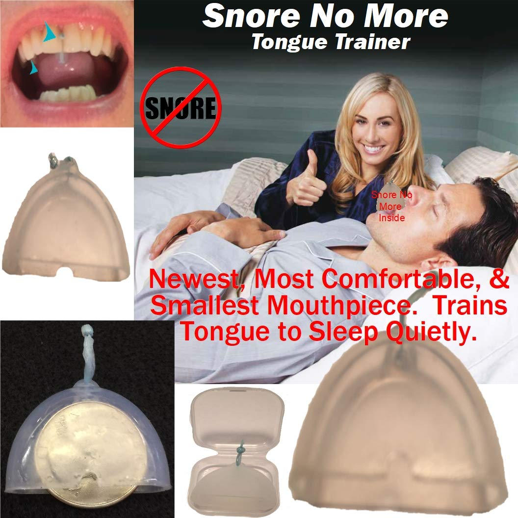 Snore No More- Revolutionary Design- Most Comfortable & Smallest Mouthpiece or Tongue Trainer. 96% Clinical Effectiveness. ''Trains Tongue'' for only ~1 Night/Week use. by Generic