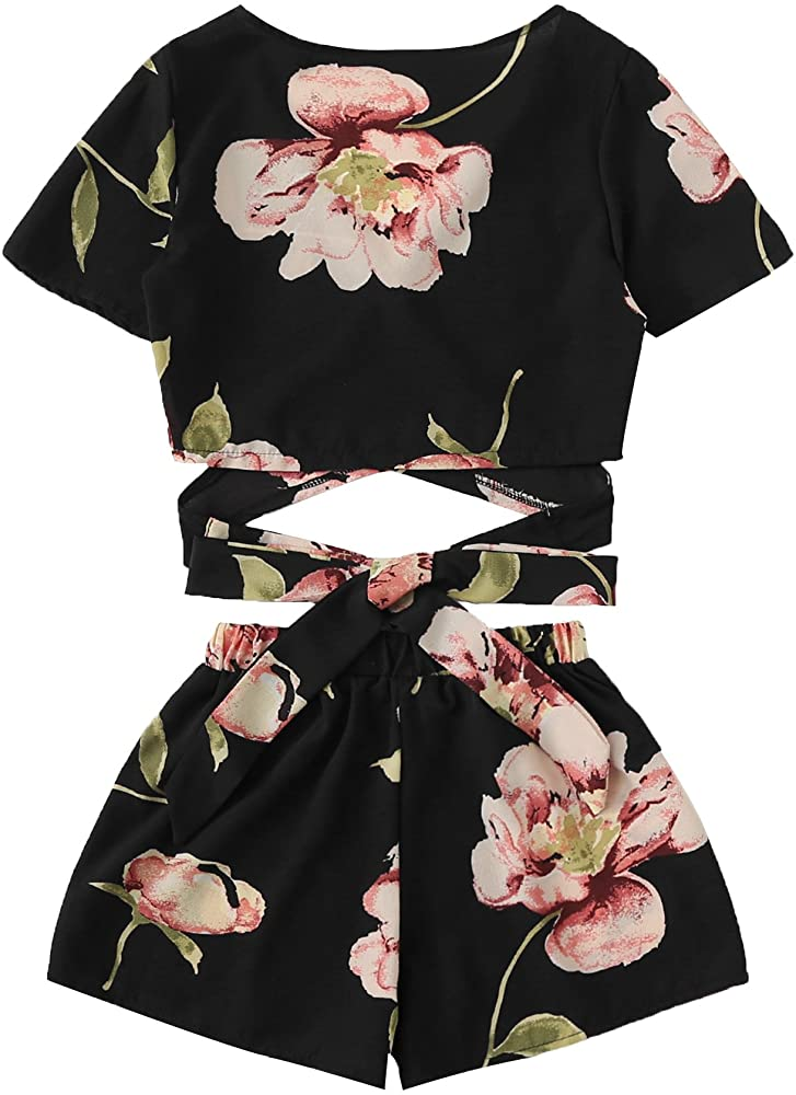 Women Tube Top Off Shoulder Floral Shaped Wrapped Chest Shorts Two Piece Set N7