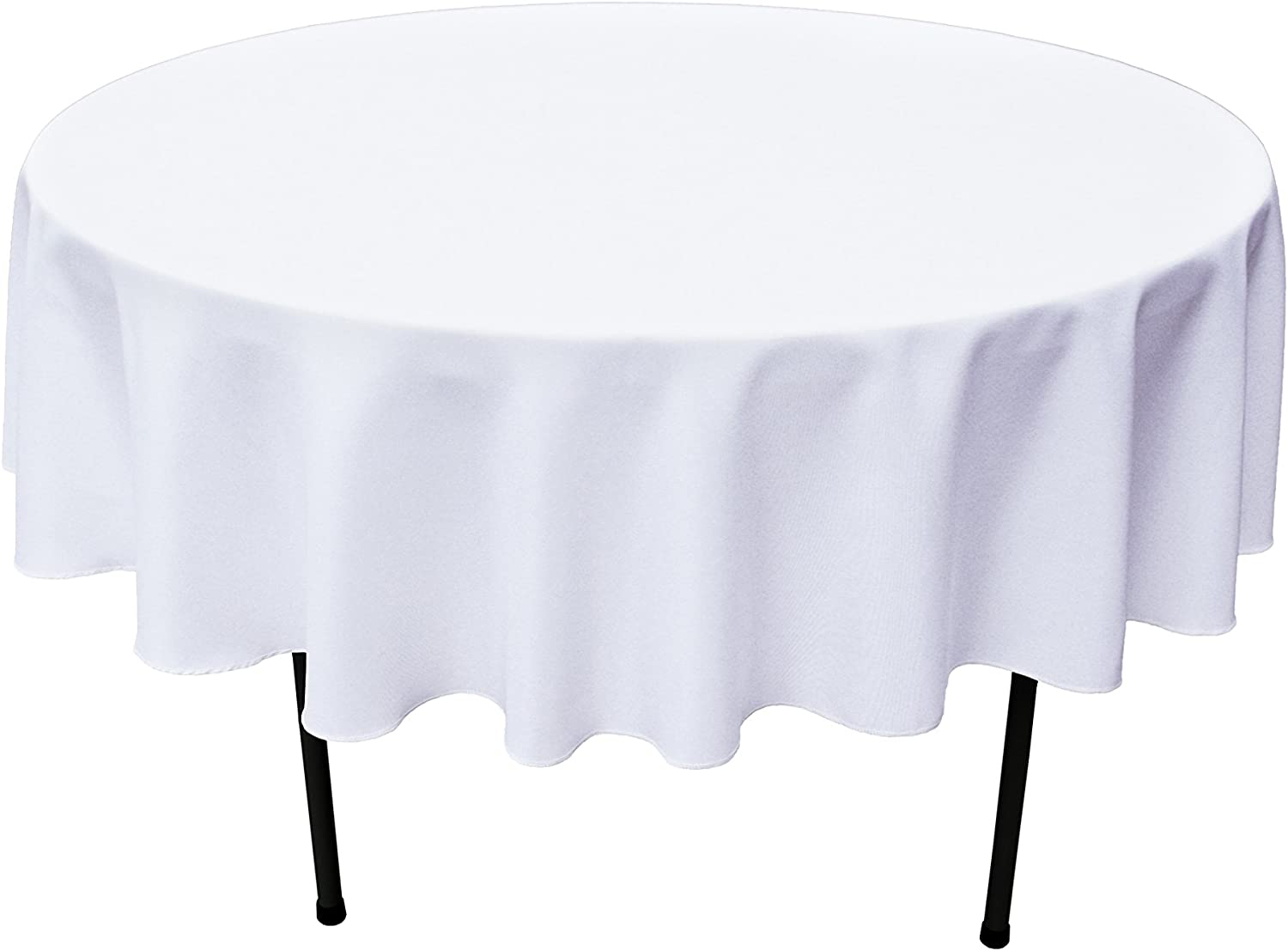 GEFEII Kitchen White Tablecloth 70 inch Round Tablecloths Solid Polyester Table Cloth for Wedding Party Restaurant Banquet Dining Buffet Table Picnic Decorations (Round-70 inch, White)
