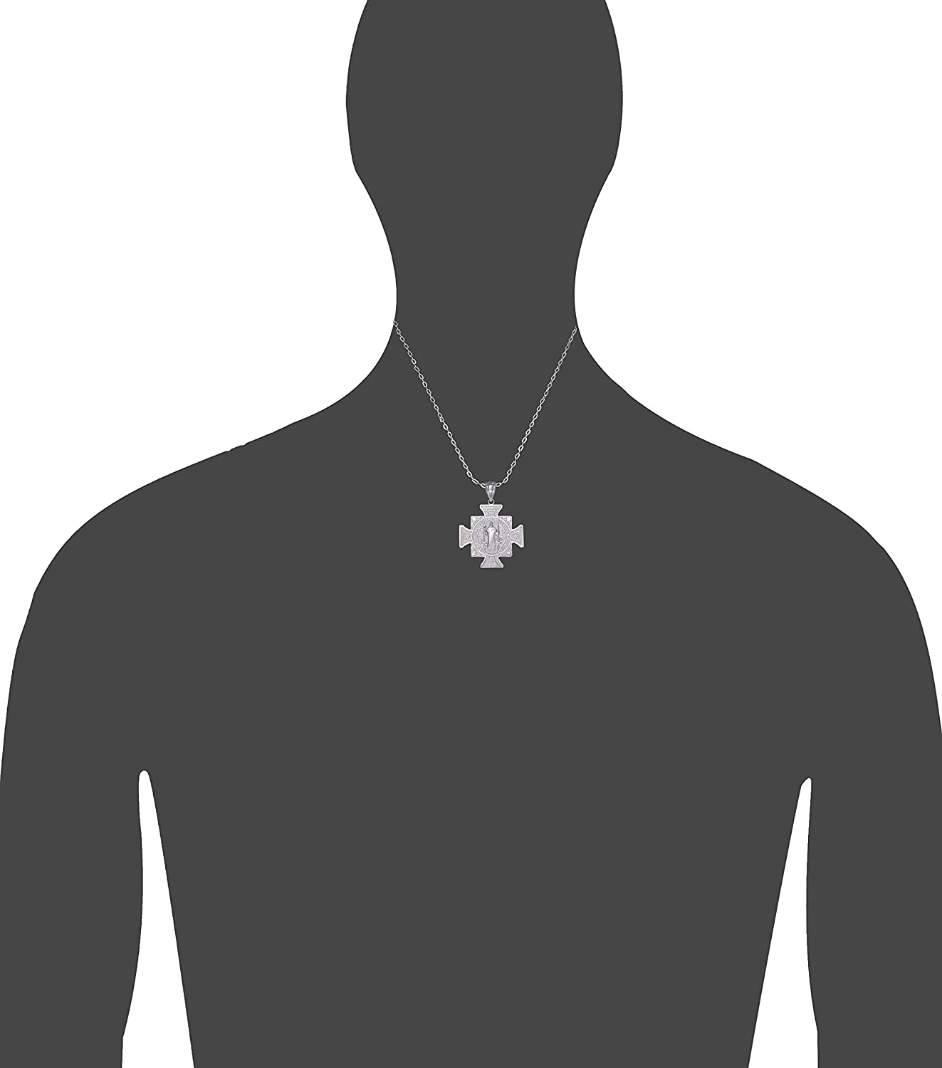 eJewelryPlus Sterling Silver Saint Benedict Cross Reversible Charm Pendant Necklace 1.3 Inches