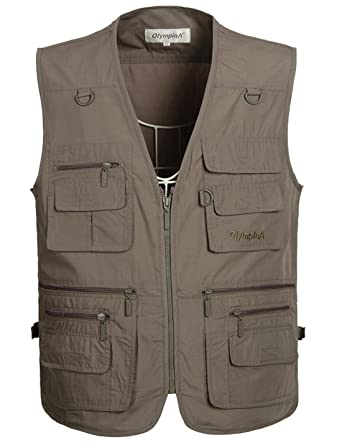 0fdc13d051738 Flygo Men's Summer Casual Outdoor Utility 16 Pockets Journalist Fishing  Photo Travel Vest Plus Size (