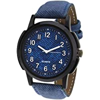 Bhakti Fashion BF102 Blue Leather Strap Wrist Watch for Boys & Girls