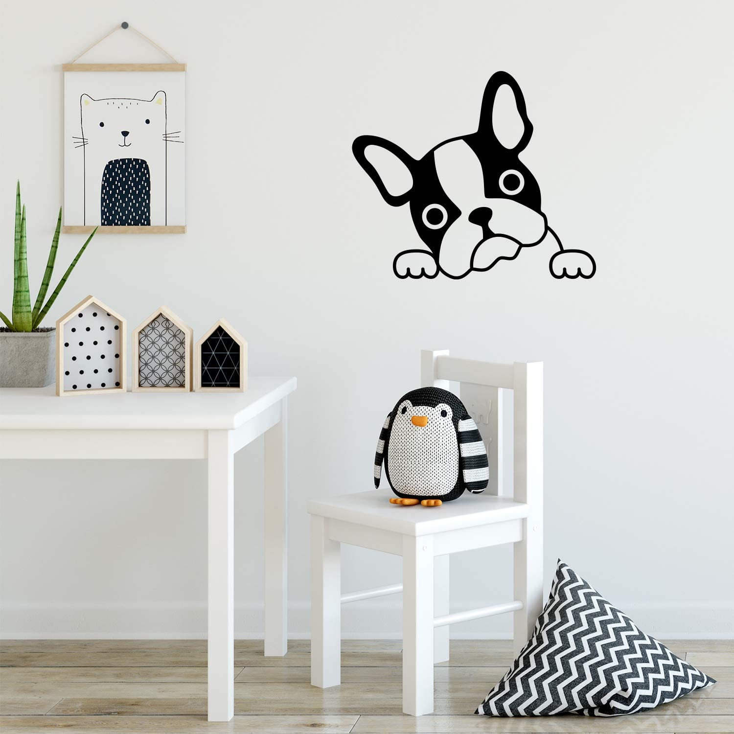Vinyl Wall Art Decal - French Bulldog Face - 18