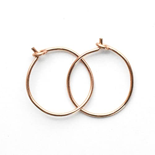 Amazon Com Tiny Hoop Earrings In 14k Rose Gold Fill 10mm 24 Gauge Thin Comfortable Pink Gold Hypoallergenic Huggy Minimalist Unisex Threader Earrings For Sensitive Ears Handmade