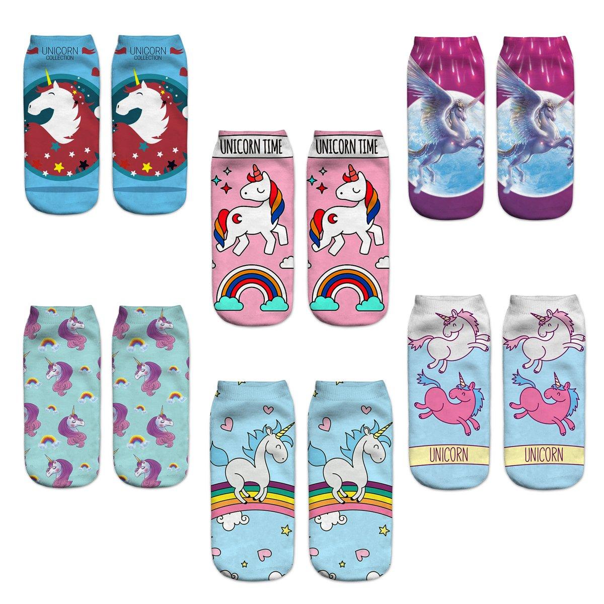 Women Girls Novelty Cute Funny Unicorn Socks Gift Packs