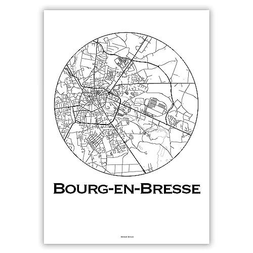 Maison Et Cuisine Plan De Ville Poster Affiche Bourges France Minimalist Map Creation Originale Handmade City Map Produits Handmade Hotelaomori Co Jp