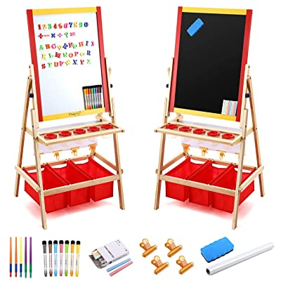 Magicfly Kids Art Easel with Paper Roll, Double Sided Toddler Childrens Easel Chalkboard and Magnetic Dry Erase Board for Kid Painting and Drawing, Multiple Art Accessories Included: Home & Kitchen