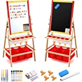 Magicfly Kids Art Easel with Paper Roll, Double Sided Toddler Childrens Easel Chalkboard and Magnetic Dry Erase Board for Kid