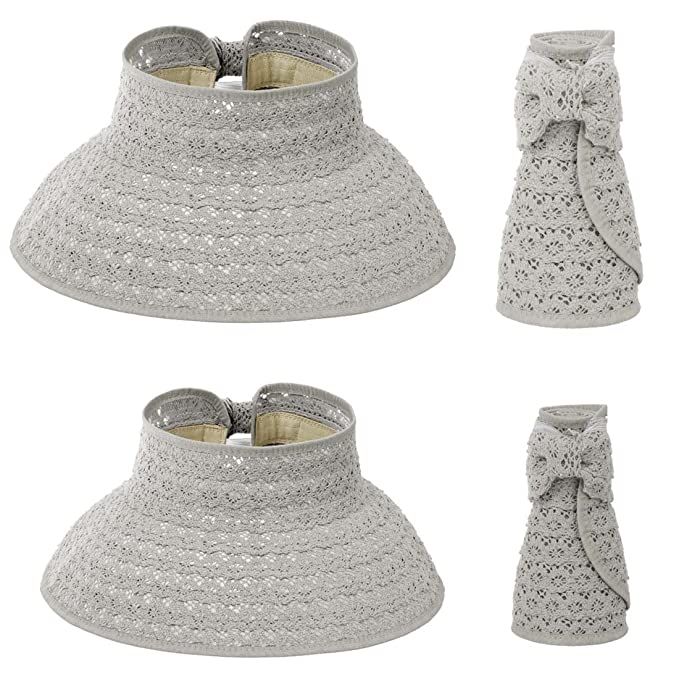 dc38dbd55f62b BMC 2pc Cool Gray Straw Material Lace Pattern Collapsible Roll Up Wide Brim  Mommy and Me