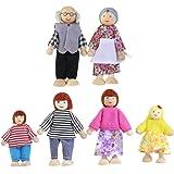 NUOLUX Famiglia bambole del fumetto giocattoli di legno burattino per bambini giocare casa regalo 6pcs(Random color)