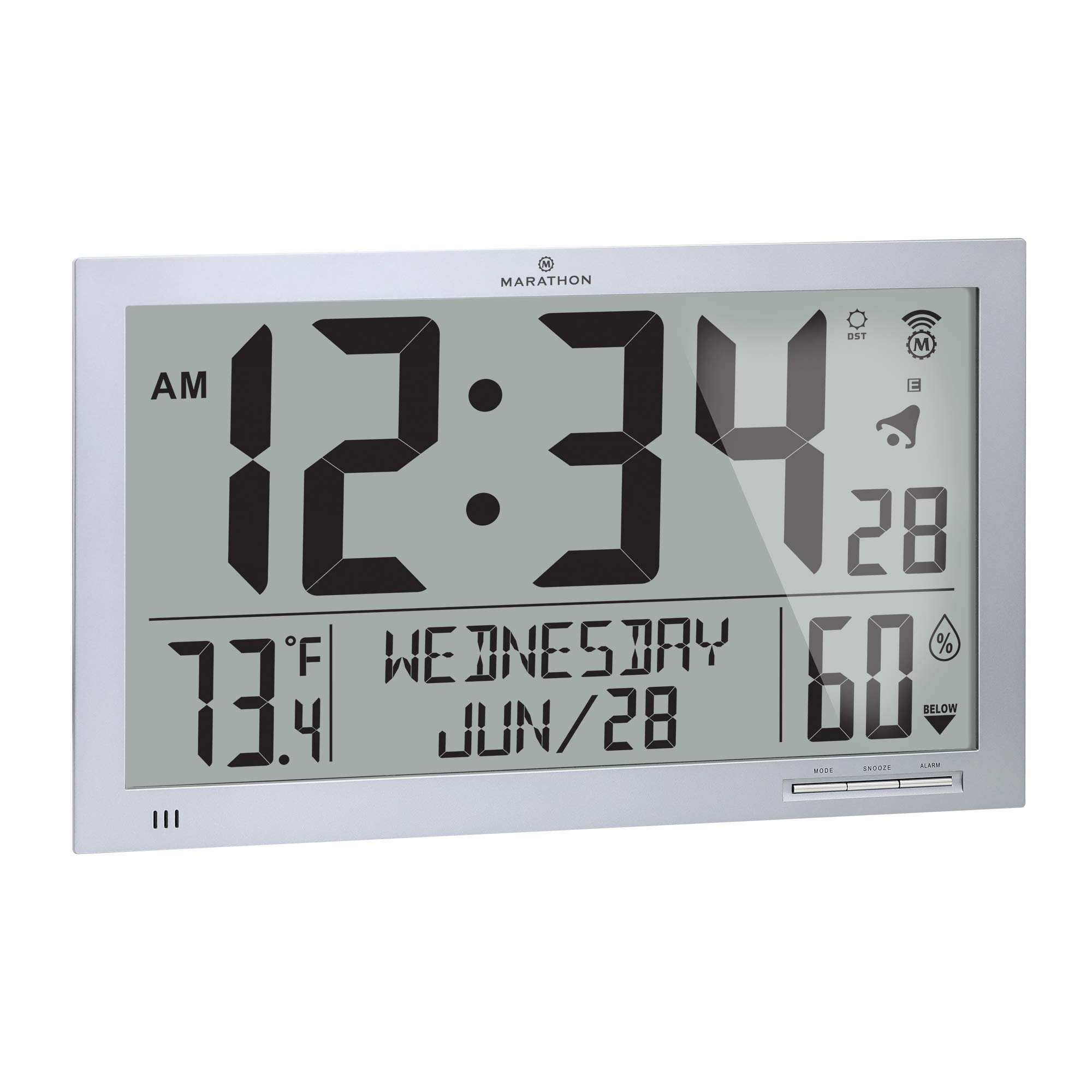 Marathon Slim Atomic Full Calendar Wall Clock with Indoor/Outdoor Temperature. Extra Long 4.5 Inch Digits. Comes with…