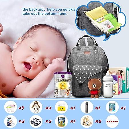 Kono Mochila Pañales Maternal Bolso Carro Bebé Mochila Carrito Bebe Impermeable y Puerto de Carga USB (Gris)