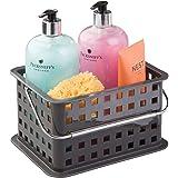 InterDesign Basic Cesta organizadora, canasto Organizador de baño de tamaño pequeño en plástico para artículos de Ducha y cosmética, Gris Pizarra
