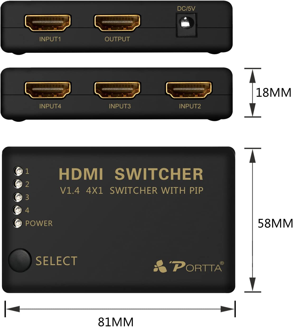 Portta HDMI Switch//Switcher 4 Port 4x1 v1.4 with PIP and IR Remote Support Full 3D 4k x 2k 1080p LPCM DTS Picture in Picture