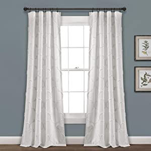 "Lush Decor White Avon Chenille Trellis Window Curtain Panel Pair (84"" x 40"") (16T003831)"