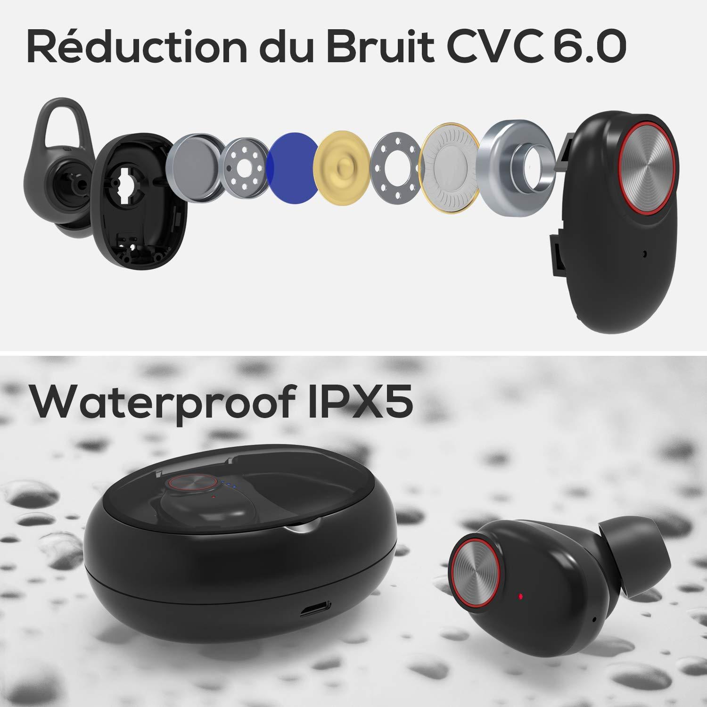 Ecouteur Bluetooth V5.0 UTRAI Oreillette sans Fil Léger HiFi Stéréo TWS 500mAh Appariement Automatique 20H Play Étanche IPX5 Anti-Bruit CVC 6.0 Microphone HD Confortable Haute Fidélité iOS Android
