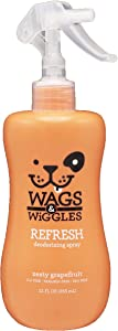 Wags & Wiggles Refresh Dog Deodorizing Spray in Zesty Grapefruit | Long Lasting Dog Grooming Deodorizer Spray, 12 Ounces (FF9758)
